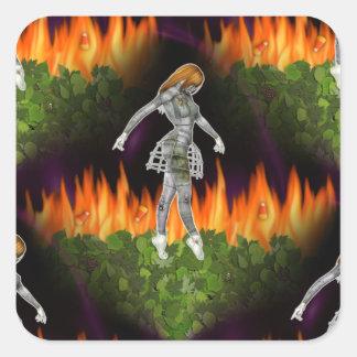 fuego inconsútil y Candycorn de 3D Biomechannequin Pegatina Cuadrada