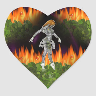 fuego inconsútil y Candycorn de 3D Biomechannequin Pegatina En Forma De Corazón