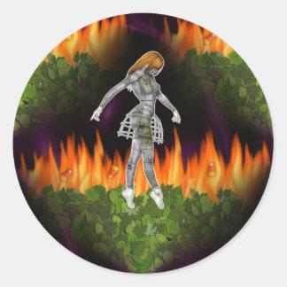 fuego inconsútil y Candycorn de 3D Biomechannequin Pegatina Redonda