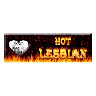 Fuego lesbiano caliente y corazón de mármol rojo tarjetas de visita mini