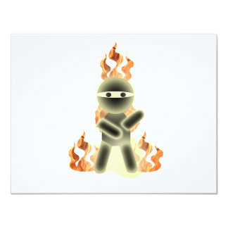 Fuego Ninja (por el kolohe Nick del lil) Invitación 10,8 X 13,9 Cm