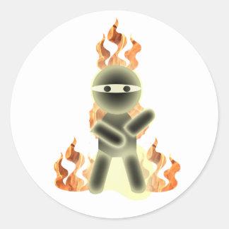Fuego Ninja (por el kolohe Nick del lil) Pegatinas Redondas