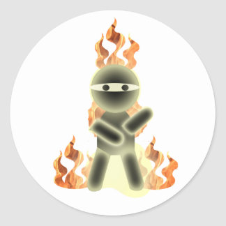 Fuego Ninja (por el kolohe Nick del lil) Pegatina Redonda