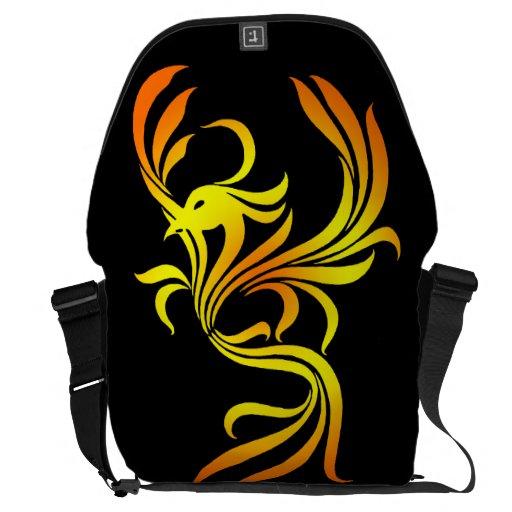 Fuego Phoenix en la bolsa de mensajero grande negr Bolsas De Mensajería