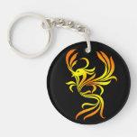 Fuego Phoenix en llavero de acrílico negro