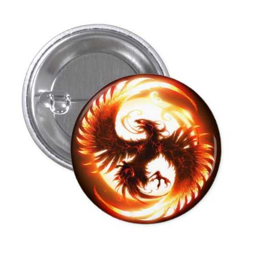 Fuego Phoenix Pin Redondo De 1 Pulgada