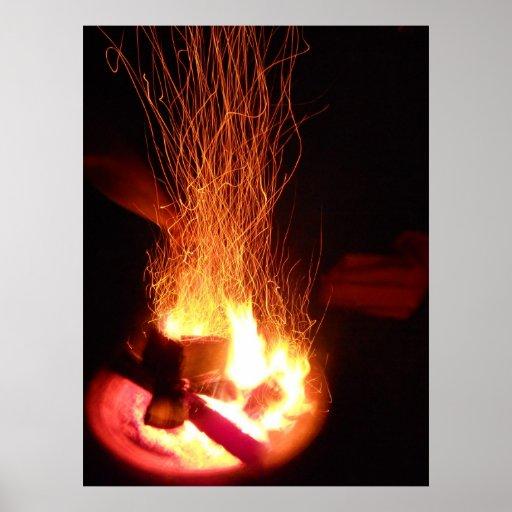 Fuego que pinta 3 impresiones