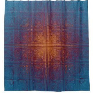 Fuego que quema dentro de la teja de mosaico cortina de baño
