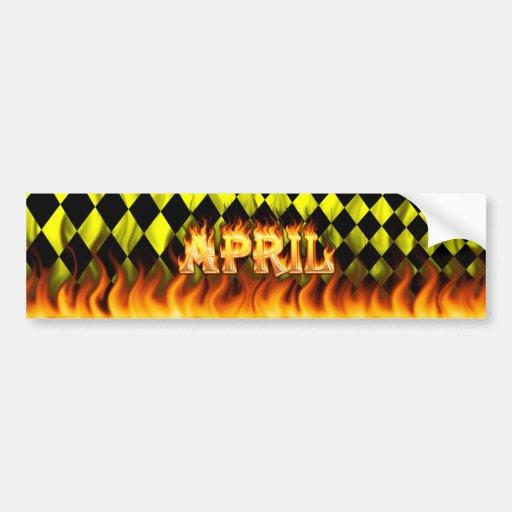 Fuego real de abril y diseño de la pegatina para e etiqueta de parachoque