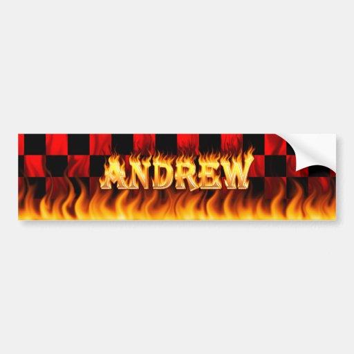 Fuego real de Andrew y diseño de la pegatina para  Pegatina Para Auto