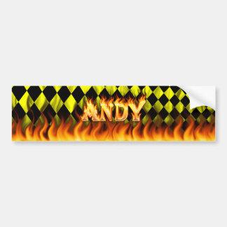 Fuego real de Andy y diseño de la pegatina para el Pegatina De Parachoque