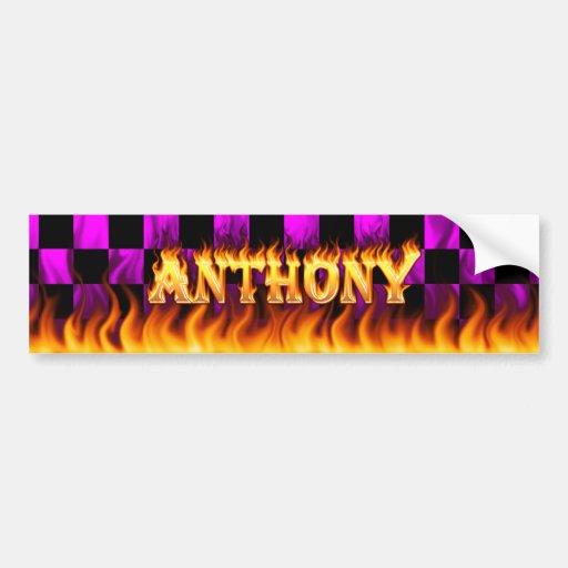 Fuego real de Anthony y diseño de la pegatina para Etiqueta De Parachoque