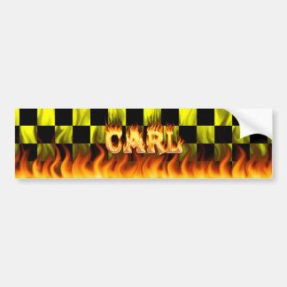 Fuego real de Carl y diseño de la pegatina para el Etiqueta De Parachoque