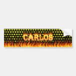 Fuego real de Carlos y diseño de la pegatina para  Etiqueta De Parachoque