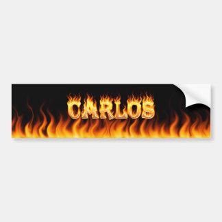 Fuego real de Carlos y diseño de la pegatina para  Pegatina De Parachoque