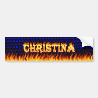 Fuego real de Christina y desi de la pegatina para Pegatina Para Auto