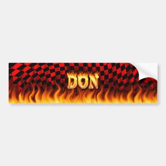 Fuego real de Don y diseño de la pegatina para el  Etiqueta De Parachoque
