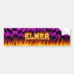 Fuego real de Elmer y diseño de la pegatina para e Pegatina De Parachoque