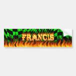 Fuego real de Francisco y diseño de la pegatina pa Etiqueta De Parachoque