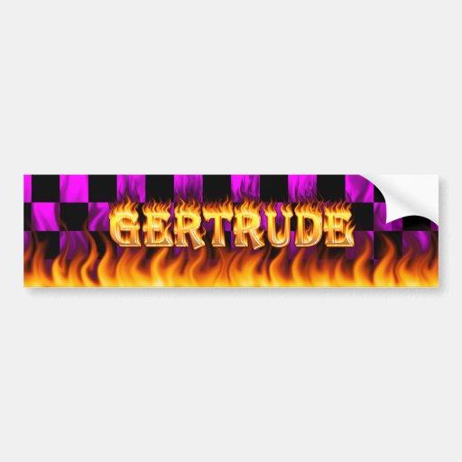 Fuego real de Gertrudis y desig de la pegatina par Etiqueta De Parachoque