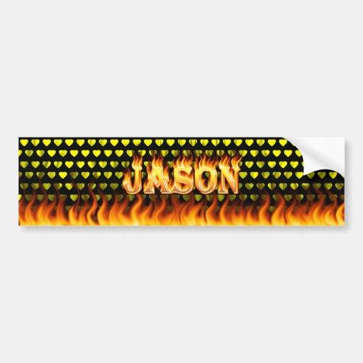 Fuego real de Jason y diseño de la pegatina para e Etiqueta De Parachoque