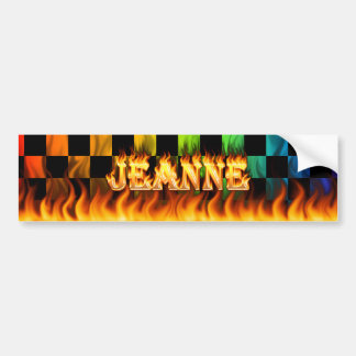 Fuego real de Jeanne y diseño de la pegatina para  Etiqueta De Parachoque