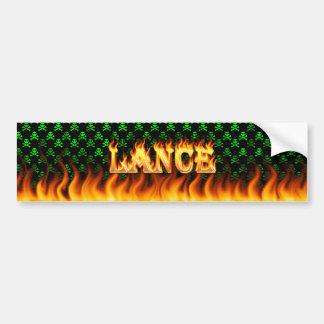 Fuego real de la lanza y diseño de la pegatina par etiqueta de parachoque