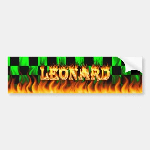 Fuego real de Leonard y diseño de la pegatina para Pegatina Para Auto