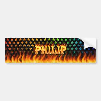 Fuego real de Philip y diseño de la pegatina para  Etiqueta De Parachoque