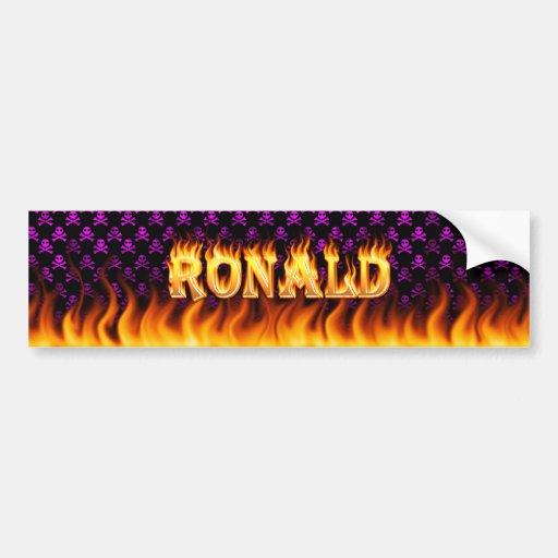 Fuego real de Ronald y diseño de la pegatina para  Etiqueta De Parachoque