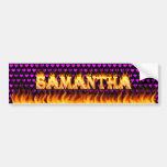 Fuego real de Samantha y desig de la pegatina para Etiqueta De Parachoque