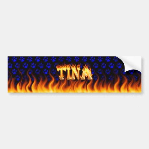 Fuego real de Tina y diseño de la pegatina para el Pegatina Para Auto