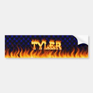 Fuego real de Tyler y diseño de la pegatina para e Pegatina De Parachoque