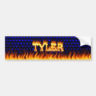 Fuego real de Tyler y diseño de la pegatina para e Etiqueta De Parachoque