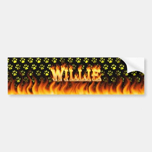 Fuego real de Willie y diseño de la pegatina para  Pegatina De Parachoque