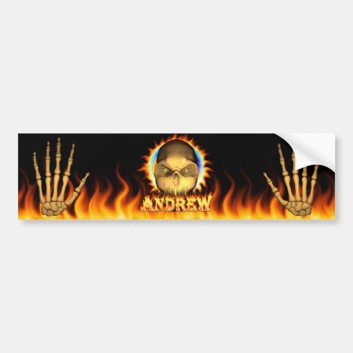 Fuego real del cráneo de Andrew y pegatina para el Pegatina De Parachoque