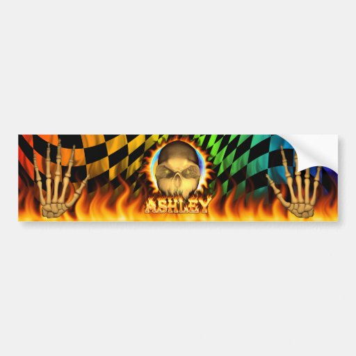 Fuego real del cráneo de Ashley y etiqueta engomad Pegatina De Parachoque