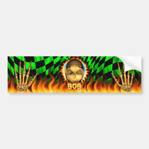 Fuego real del cráneo de Bob y desi de la pegatina Pegatina De Parachoque