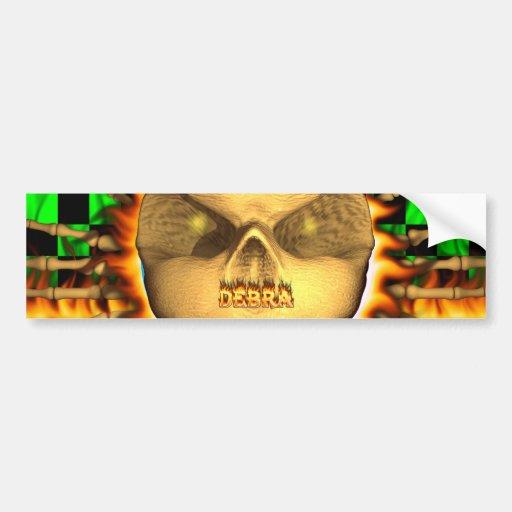 Fuego real del cráneo de Debra y etiqueta engomada Pegatina De Parachoque