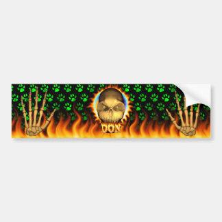 Fuego real del cráneo de Don y desi de la pegatina Pegatina De Parachoque