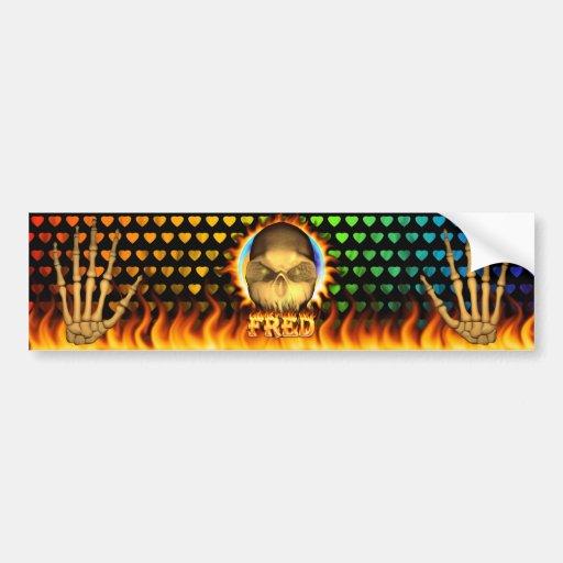 Fuego real del cráneo de Fred y DES de la pegatina Etiqueta De Parachoque