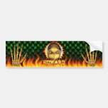 Fuego real del cráneo de Howard y pegatina para el Etiqueta De Parachoque