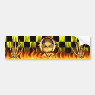 Fuego real del cráneo de la lanza y pegatina para  pegatina de parachoque