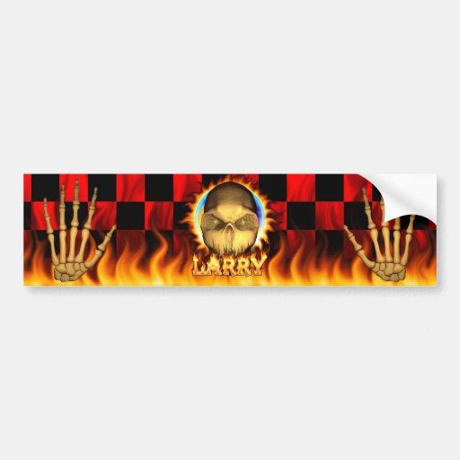Fuego real del cráneo de Larry y pegatina para el  Pegatina Para Auto