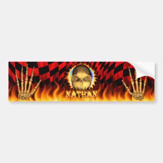 Fuego real del cráneo de Nathan y pegatina para el Pegatina De Parachoque