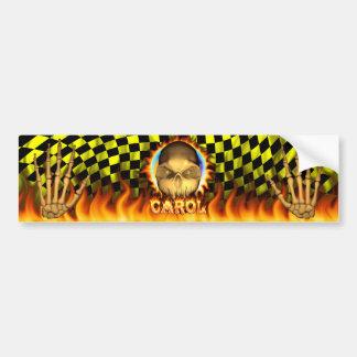Fuego real del cráneo del villancico y etiqueta en etiqueta de parachoque