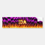 Fuego real del Ida y diseño de la pegatina para el Pegatina De Parachoque