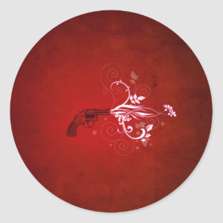 Fuego rojo abstracto del arma pegatina redonda