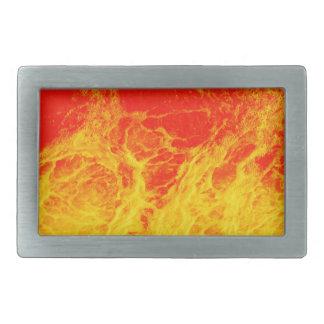 Fuego rojo y amarillo ardiente hebilla de cinturón rectangular