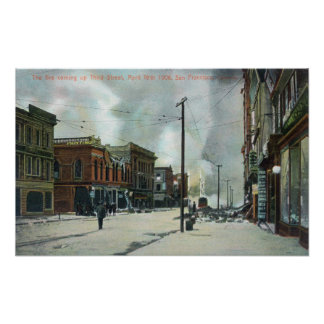 Fuego tercera Street que sube, terremoto 1906 Póster